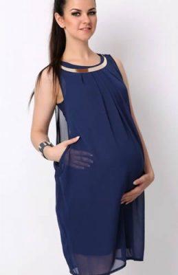 Lacivert şifon abiye hamile elbisesi