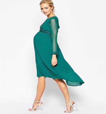 Yeşil abiye hamile elbisesi