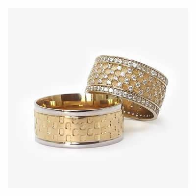 altın kaplama taş işlemeli alyans modeli