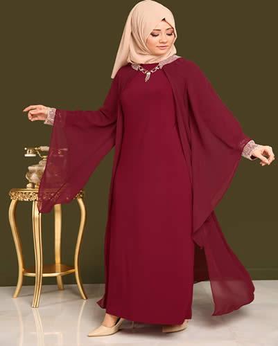 Bordo tesettür abiye elbise