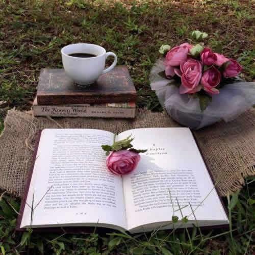 kahve ve kitap resmi