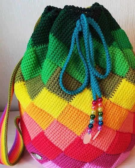 rengarenk örme yazlık çanta